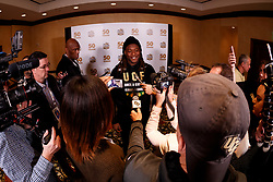 UCF head coach Scott Frost and select players speaks with the media at the Omni Atlanta hotel, Wednesday, December 27, 2017, in Atlanta. UCF will face Auburn in the Chick-fil-A Peach Bowl on January 1, 2018. (Paul Abell via Abell Images for Chick-fil-A Peach Bowl)