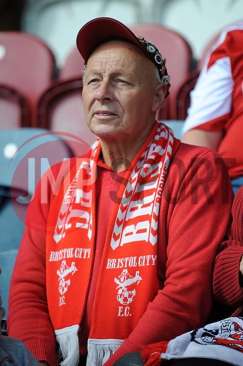 Bristol City fan - Photo mandatory by-line: Dougie Allward/JMP - Mobile: 07966 386802 23/08/2014 - SPORT - FOOTBALL - Manchester - Spotland Stadium - Rochdale AFC v Bristol City - Sky Bet League One