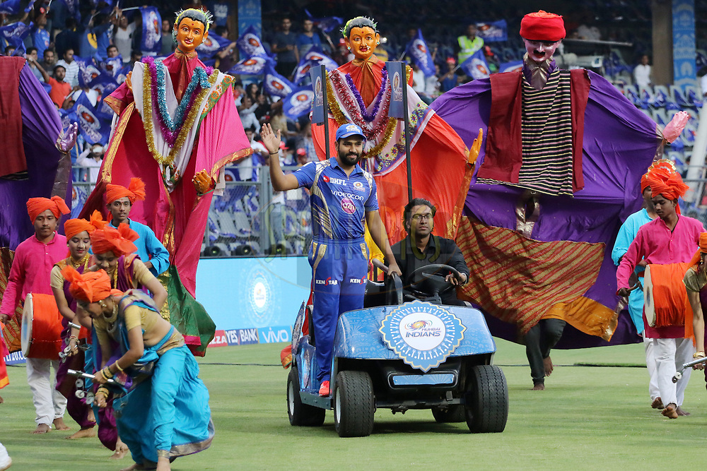 Mumbai Indians captain Rohit Sharma before the start of the match 7 of the Vivo 2017 Indian Premier League between the Mumbai Indians and the Kolkata Knight Riders held at the Wankhede Stadium in Mumbai, India on the 9th April 2017<br /> <br /> Photo by Vipin Pawar - IPL - Sportzpics