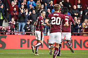 Hearts FC Midfielder Jamie Walker Celebrates the penalty goal during the Ladbrokes Scottish Premiership match between Heart of Midlothian and Kilmarnock at Tynecastle Stadium, Gorgie, Scotland on 27 February 2016. Photo by Craig McAllister.