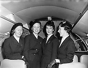 19/11/1958<br /> 11/19/1958<br /> 19 November 1958 <br /> Fokker F27 Friendships arrive at Dublin Airport. Aer Lingus receives two aircraft. Aer Lingus hostesses on board one of the new aircraft.