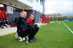 NEWPORT, WALES - Tuesday, November 6, 2018: Wales' goalkeeping coach Jon Horton and goalkeeper Claire Skinner during a training session at Dragon Park ahead of two games against Portugal. (Pic by Paul Greenwood/Propaganda)