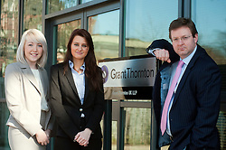 Grant Thorntons newest Recruits Phoebe Tresize (left) and Sarah Clark with Grant Thornton Partner Paul Houghton..http://www.pauldaviddrabble.co.uk.26 March 2012 .Image © Paul David Drabble