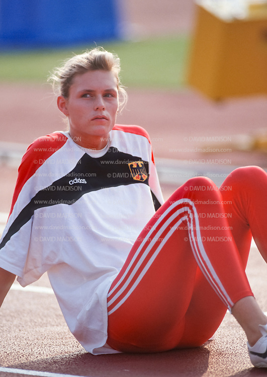 TOKYO - AUGUST 1991:  Katrin Krabbe #343 of Germany waits to compete in the 1991 IAAF World Championships during August 1991 at the National Olympic Stadium in Tokyo, Japan.   (Photo by David Madison/Getty Images)