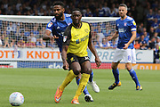 Burton Albion forward Lucas Akins passes the ball during the EFL Sky Bet League 1 match between Burton Albion and Ipswich Town at the Pirelli Stadium, Burton upon Trent, England on 3 August 2019.