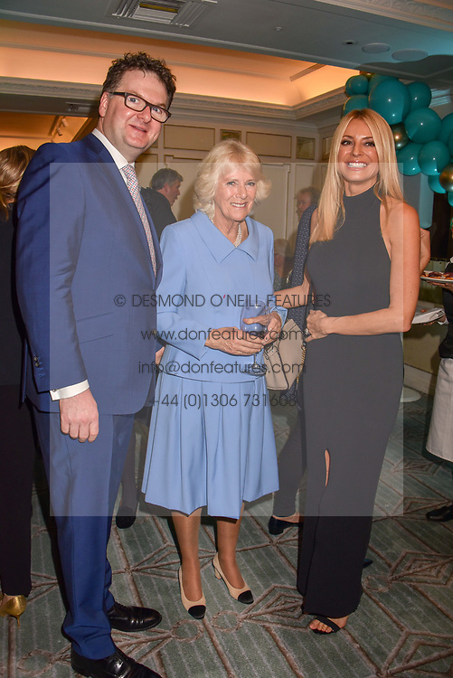 Ewan Venters, HRH The Duchess of Cornwall and Tess Daly at the launch of the Fortnum & Mason Christmas & Other Winter Feasts Cook Book by Tom Parker Bowles held at Fortnum & Mason, 181 Piccadilly, London, England. 17 October 2018.