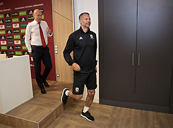 BUDAPEST, HUNGARY - Monday, June 10, 2019: Wales' manager Ryan Giggs leaves for a training session after a press conference ahead of the UEFA Euro 2020 Qualifying Group E match between Hungary and Wales at the Ferencváros Stadion. (Pic by David Rawcliffe/Propaganda)