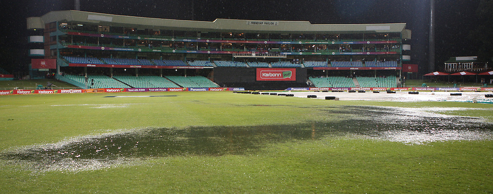 Heavy downpour, bad light and a rain soaked outfield during match 9 of the Karbonn Smart CLT20 South Africa between The Kolkata Knight Riders and The Perth Scorchers held at Kingsmead Park in Durban, South Africa on the 17th October 2012..Photo by Steve Haag/SPORTZPICS/CLT20