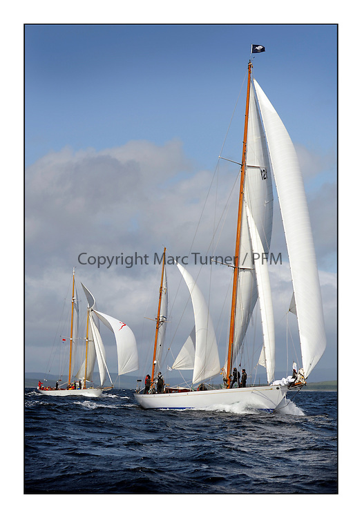 Day five of the Fife Regatta, Race from Portavadie on Loch Fyne to Largs. <br /> <br /> Latifa, 8, Mario Pirri, ITA, Bermudan Yawl, Wm Fife 3rd, 1936 <br /> with Astor, Richard Straman, USA, Schooner, Wm Fife 3rd, 1923<br /> <br /> * The William Fife designed Yachts return to the birthplace of these historic yachts, the Scotland&rsquo;s pre-eminent yacht designer and builder for the 4th Fife Regatta on the Clyde 28th June&ndash;5th July 2013<br /> <br /> More information is available on the website: www.fiferegatta.com