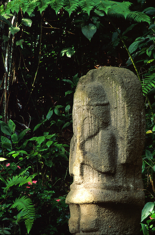 COLOMBIA: Huila.San Augustin Archaeological Park;.A pre-Columbian stone statue of an angel