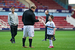 LONDON, ENGLAND - Sunday, February 27, 2011: West Ham United supporter and commedian James Corden has a kick-about on the pitch after the Premiership match between West Ham United and Liverpool at Upton Park. (Photo by David Rawcliffe/Propaganda)