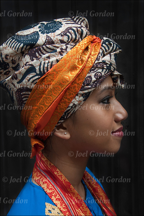 Portraits of Indonesian dancer before the start of the 7th Annual Dance Parade in New York City.