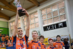 Matej Vidic of ACH celebrates with a Trophy at final match of Slovenian National Volleyball Championships between ACH Volley Bled and Salonit Anhovo, on April 24, 2010, in Radovljica, Slovenia. ACH Volley defeated Salonit 3rd time in 3 Rounds and became Slovenian National Champion.  (Photo by Vid Ponikvar / Sportida)