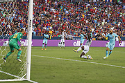 Manchester United Forward Romelu Lukaku misses a chance at goal during the International Champions Cup match between Barcelona and Manchester United at FedEx Field, Landover, United States on 26 July 2017.