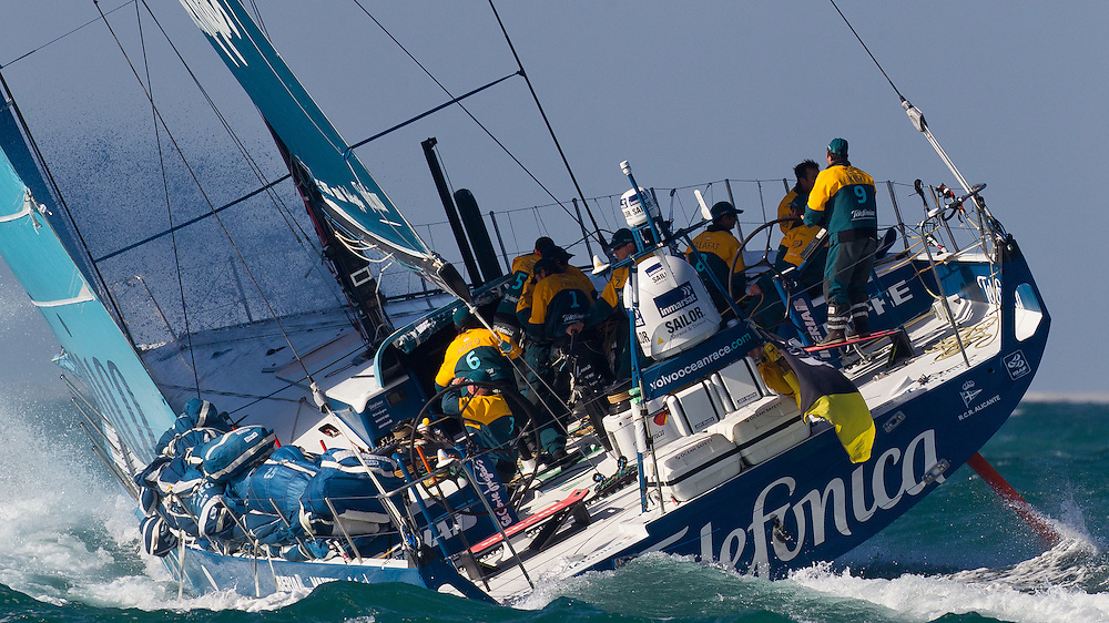UAE. 4th January 2012. Volvo Ocean Race, Leg 2, arrival into Abu Dhabi. Team Telefonica.