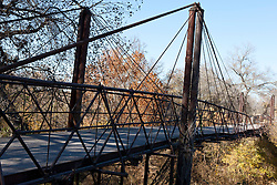 Old rotted suspension bridge, no longer in use, Bluff Dale, Texas, United States of America