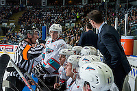 KELOWNA, CANADA - MARCH 25: Tanner Wishnowski #9 of Kelowna Rockets listens to the referee from the bench Kamloops Blazers on March 25, 2016 at Prospera Place in Kelowna, British Columbia, Canada.  (Photo by Marissa Baecker/Shoot the Breeze)  *** Local Caption *** Tanner Wishnowski;