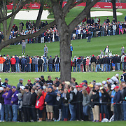 Ryder Cup 2016.  European players practicing on the sixteenth in front of massive crowds during practice day at the Hazeltine National Golf Club on September 28, 2016 in Chaska, Minnesota.  (Photo by Tim Clayton/Corbis via Getty Images)