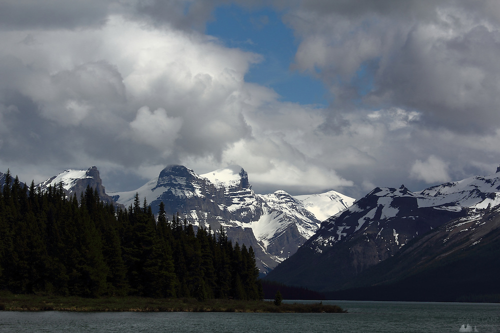 Stormy skies over Maligne Lake, near Jasper, Alberta, Canadian Rockies
