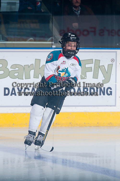 KELOWNA, CANADA - DECEMBER 30: The Pepsi Save On Foods Player of the game skates on the ice on December 30, 2014 at Prospera Place in Kelowna, British Columbia, Canada.  (Photo by Marissa Baecker/Shoot the Breeze)  *** Local Caption *** Pepsi Save On Foods Player of the Game;
