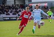 FODBOLD: Carl Lange (FC Helsingør) og Jacob Buus (FC Fredericia) under kampen i NordicBet Ligaen mellem FC Fredericia og FC Helsingør den 10. marts 2019 på Monjasa Park i Fredericia. Foto: Claus Birch