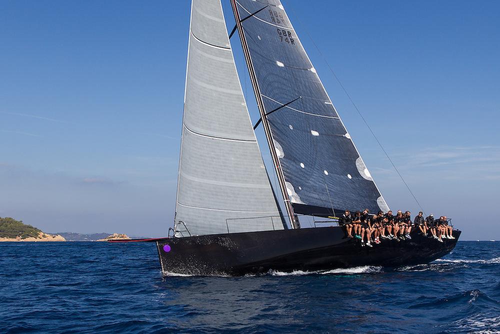 "FRANCE, St Tropez. 5th October 2012. Voiles de St Tropez. GBR 74R, Judel/Vrolijk 60, ""Jethou"". Built 2009."