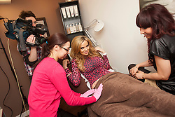 "Maria gets a Vajazzle on her hip at Red Earth..Filming of ""Ma Way"", Maria Fowler""s guide to Perth..© Michael Schofield."