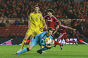 Burnley goalkeeper Thomas Heaton  claims the ball  during the Sky Bet Championship match between Middlesbrough and Burnley at the Riverside Stadium, Middlesbrough, England on 15 December 2015. Photo by Simon Davies.