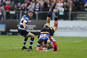 Bath wing Matt Babahan (11) involved in a dangerous tackle during the Aviva Premiership match between Bath Rugby and Gloucester Rugby at the Recreation Ground, Bath, United Kingdom on 29 October 2017. Photo by Gary Learmonth.
