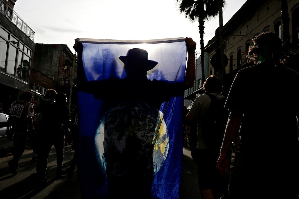 Protestors march through the streets of Ybor city during the 2012 Republican National Convention in Tampa, Fla. on Aug. 28, 2012. Photo by Greg Kahn