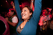 HAPPY PRETTY BRUNETTE GIRL DANCING ARMS IN THE AIR LIKE SHE JUST DONT CARE