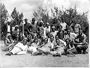 Nubian youth from one of the oldest Nubian sports clubs gather in Woodley Grounds in the heart of Kibera.  The sports club is still in existence today.  (circa 1960s)