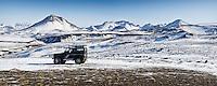 A Land Rover Defender parked near Canyon Markafljotsgljufur. Mountains Hattafell, Storkonufell and Mofellshnausar in background.<br /> <br /> Land Rover Defender ofan við Markarfljótsgljúfur. Hattafell, Stórkonufell og Mófellshnausar í baksýn