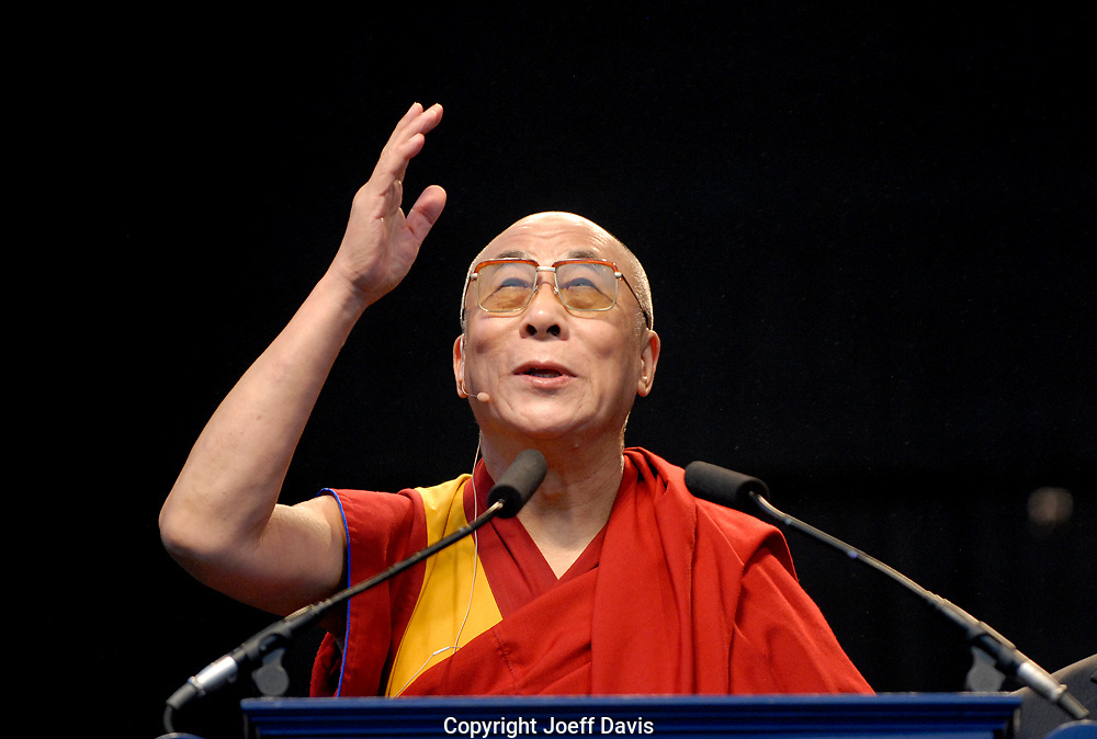 "ATLANTA, GA-OCT 22, 2007: His Holiness the Dalai Lama shares his spiritual and philosophical wisdom in a free public lecture titled ""EDUCATING THE HEART AND MIND: A PATH TO UNIVERSAL RESPONSIBILITY""  at Centennial Olympic Park in downtown Atlanta. The free lecture is one in a series of programs, welcoming the Dalai Lama as an Emory University presidential distinguished professor."