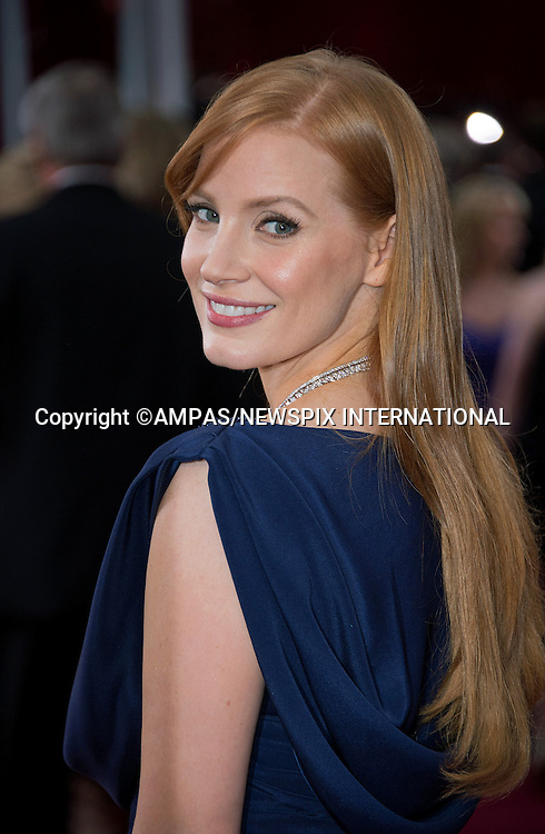 22.02.2015; Hollywood, California: 87TH OSCARS - JESSICA CHASTAIN<br /> Celebrity arrivals at the Annual Academy Awards, Dolby Theatre, Hollywood.<br /> Mandatory Photo Credit: NEWSPIX INTERNATIONAL<br /> <br />               **ALL FEES PAYABLE TO: &quot;NEWSPIX INTERNATIONAL&quot;**<br /> <br /> PHOTO CREDIT MANDATORY!!: NEWSPIX INTERNATIONAL(Failure to credit will incur a surcharge of 100% of reproduction fees)<br /> <br /> IMMEDIATE CONFIRMATION OF USAGE REQUIRED:<br /> Newspix International, 31 Chinnery Hill, Bishop's Stortford, ENGLAND CM23 3PS<br /> Tel:+441279 324672  ; Fax: +441279656877<br /> Mobile:  0777568 1153<br /> e-mail: info@newspixinternational.co.uk