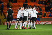 30th November 2018, Tannadice Park, Dundee, Scotland; Scottish Championship football, Dundee United versus Ayr United; Michael Moffat of Ayr United is congratulated after scoring for 3-0 in the 79th minute