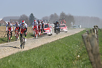 Team Katusha (Rus)/ KRISTOFF Alexander (NOR)/ PAOLINI Luca (ITA)/ HALLER Marco (AUT)/ PORSEV Alexander (RUS)/ GUARNIERI Jacopo (ITA)/ SMUKULIS Gatis (LAT) training on april 9 prior to the famous cycling race Paris Roubaix with paving stones paths which will take place on april 12, 2015 - Photo Tim de Waele / DPPI