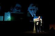 Umberto Eco, Italian writer and semiologist, speaks at Milanesiana twelfth edition in Milan, July 2011. Milanesiana is a literature, music, cinema, science, art, philosophy and videogames festival. © Carlo Cerchioli..Umberto Eco, scrittore e semiologo, parla alla 12 edizione dellla Milanesiana, festival di letteratura, musica, cinema, scienza, arte, filosofia e videogiochi, Milano, luglio 2011.