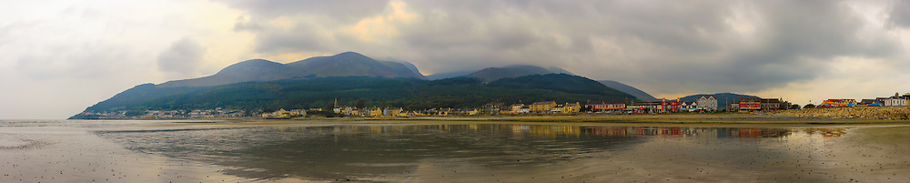 View of Newcastle and the Mournes from Dundrum Bay. The low tide gave a lovely sheen of water giving some lovely reflections.