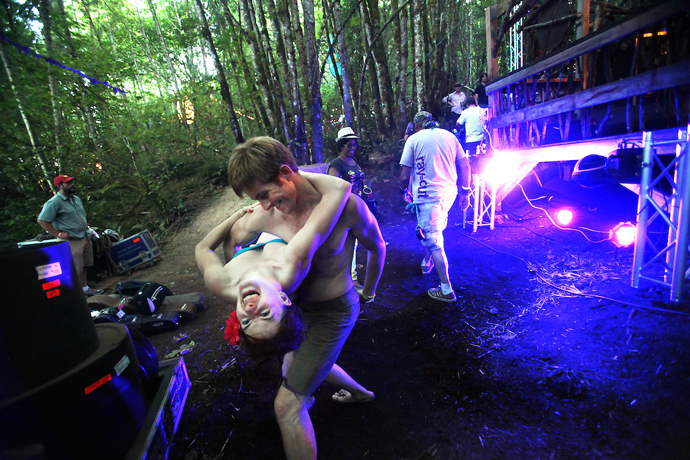 Dancing backstage while Cajun Country Revival plays on the Woods Stage. Pickathon Music Festival in Happy Valley, Ore., August 4th and 5th, 2012.
