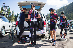 CANYON//SRAM Racing riders prepare on Stage 2 of the Amgen Tour of California - a 108 km road race, starting and finishing in South Lake Tahoe on May 18, 2018, in California, United States. (Photo by Balint Hamvas/Velofocus.com)