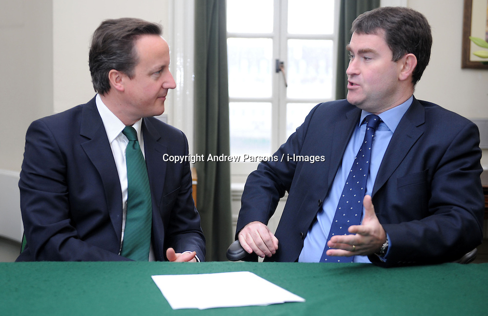 Leader of the Conservative Party David Cameron with David Gauke, Member of Parliament for South West Hertfordshire in his office in Norman Shaw South, January 7, 2010. Photo By Andrew Parsons / i-Images.