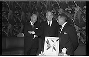 """Innoxa Reception At The Gresham Hotel..1963..02.10.1963..10.02.1963..2nd October 1963..At the Gresham Hotel, O'Connell Street, Dublin, Innoxa launched a new beauty range. The range,""""Living Peach"""", was introduced to members of the trade by Mr Bernard Mc Flynn,General Manager of Innoxa (England) Ltd. ..Image shows Mr Bernard Mc Flynn,General Manager,Innoxa,(England), ltd, Mr W Storer, Innoxa Product Co-ordinator and Mr Desmond Flanagan, Sales Manager, Innoxa Ireland at the launch of the new beauty range."""
