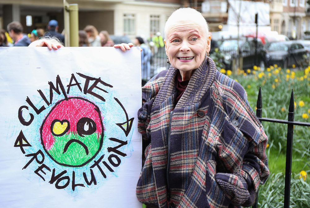 Dame Vivienne Westwood  attends an anti tracking demonstration in London on March 18, 2014.