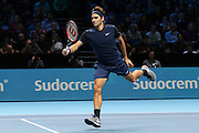 Roger Federer during the Barclays ATP World Tour Finals at the O2 Arena, London, United Kingdom on 15 November 2015. Photo by Phil Duncan.