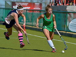 Roxy van Wyk of Pearson(green) and Angie Welham of Herschel during day one of the FNB Private Wealth Super 12 Hockey Tournament held at Oranje Meisieskool in Bloemfontein, South Africa on the 6th August 2016<br /> <br /> Photo by:   Frikkie Kapp / Real Time Images