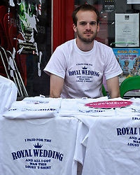 BRIGHTON, UK  29/04/2011. The Royal Wedding of HRH Prince William to Kate Middleton. I paid for the Royal Wedding Tee-Shirts for sale in Brighton. Photo credit should read JULIE EDWARDS/LNP. Please see special instructions. © under license to London News Pictures