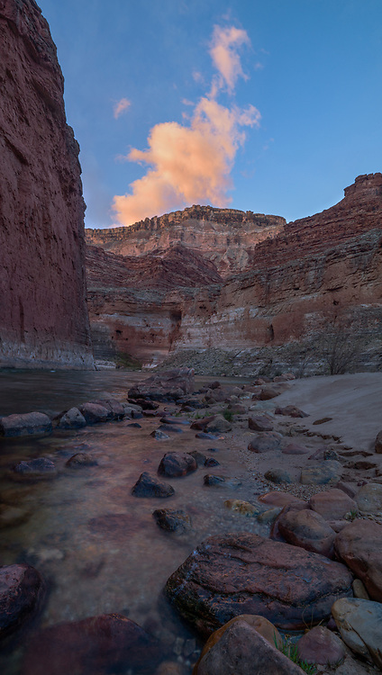 Red Wall cliffs rise up from the Colorado River near Silver Grotto, Grand Canyon National Park.
