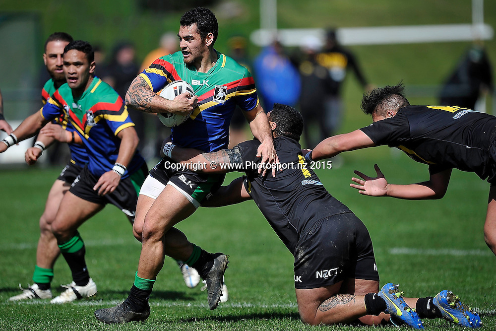 Hamiora Mihaka (L) of the Stallions is tackled by Paul Lemana of the Oracs during the NRL National Premiership rugby league match between Wellington Orcas v Wai-Coa-Bay Stallions at Porirua Park in Wellington on Saturday the 12th September 2015. Copyright photo by Marty Melville / www.photosport.nz