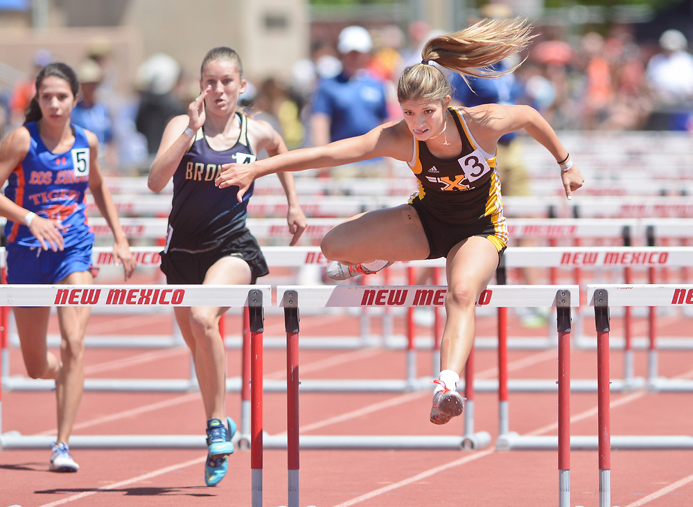 mkb051317k/sports/Marla Brose --  St. Pius X's Haley Rizek, right, takes her last jump to win the 5A 100 meter hurdle during the final day of the NMAA State Track & Field Championships, Saturday, May 13, 2017, in Albuquerque, N.M.  (Marla Brose/Albuquerque Journal)